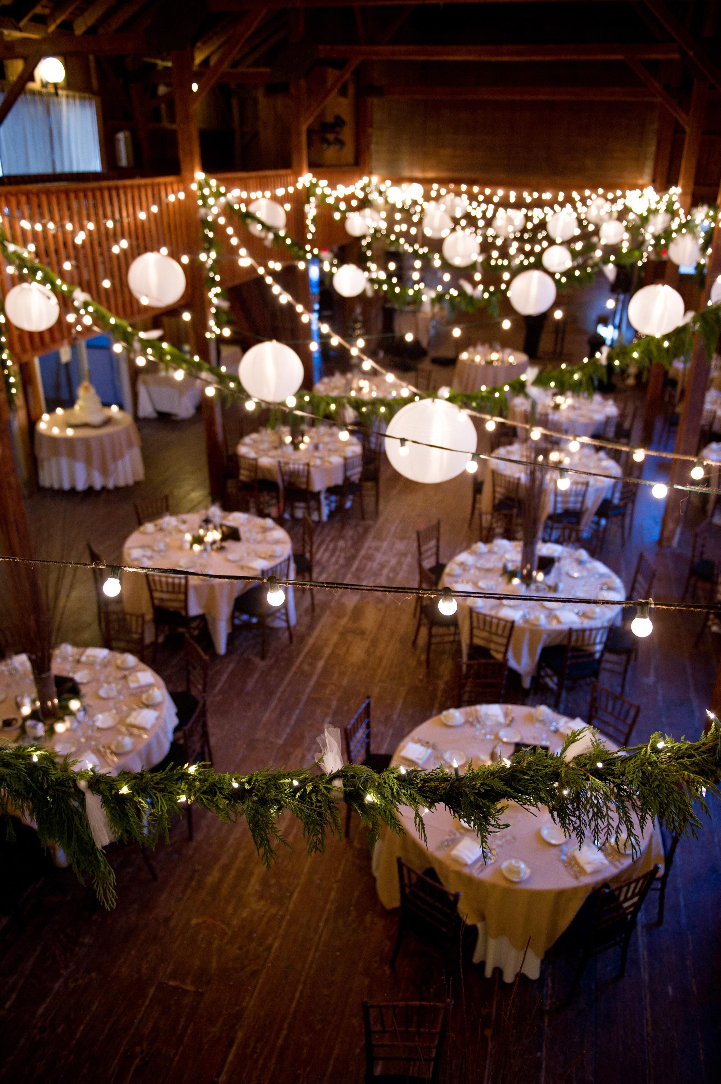 Amy champagne events barn facebook and wedding rustic diy barn wedding greenery garland lights and lanterns solutioingenieria Images