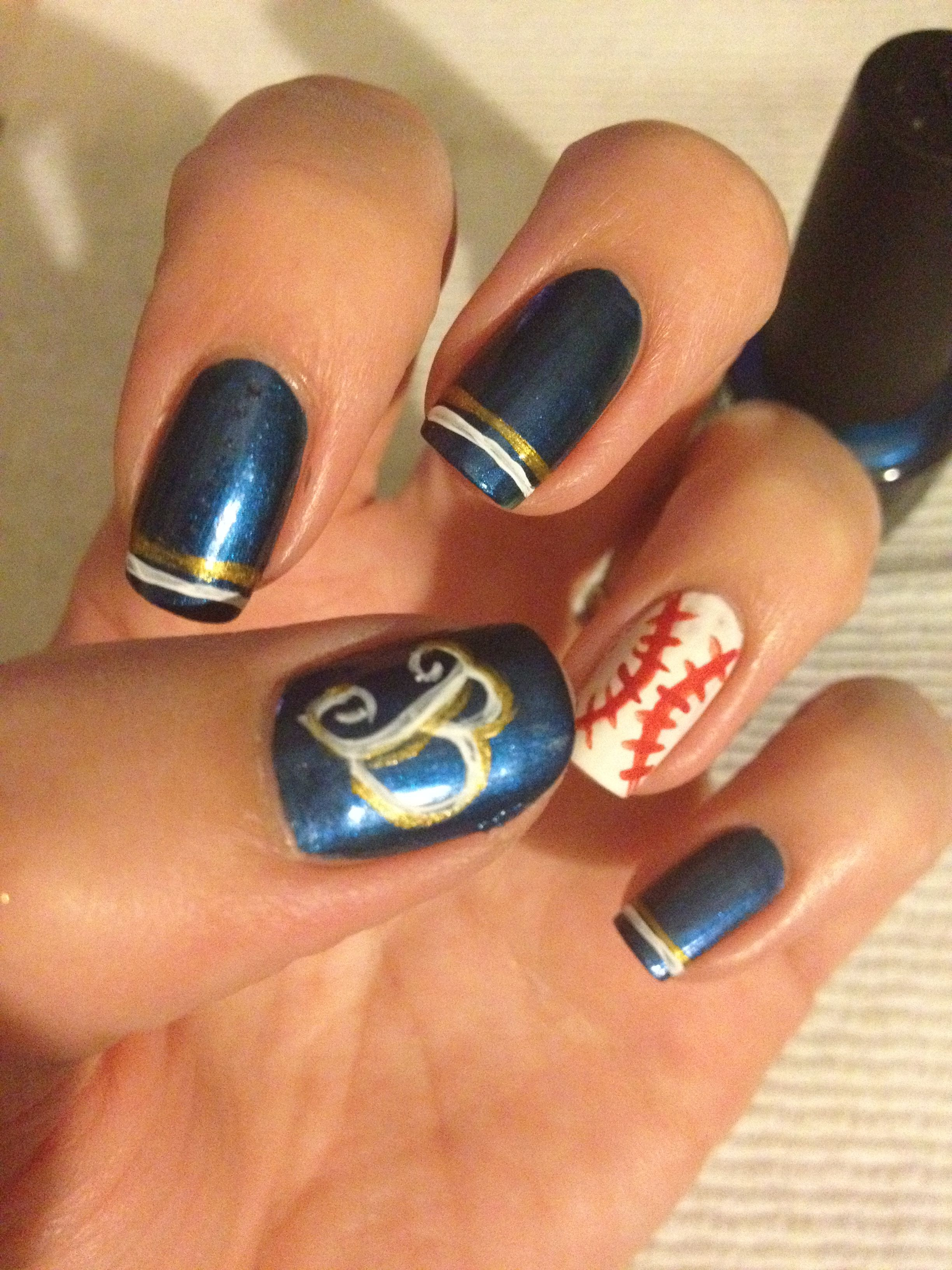 Brew Crew Game Day Nails. Opi Color Perfect Fan Love Baseball Nails Fun