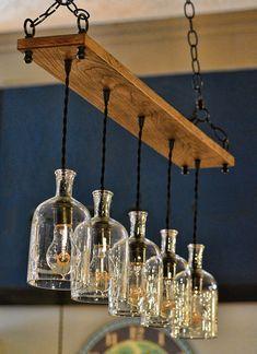 Reciclar Reutilizar Y Reducir Lámparas Colgantes Lampara Colgante De Madera Ideas Botellas De Vidrio Botellas De Vidrio Recicladas