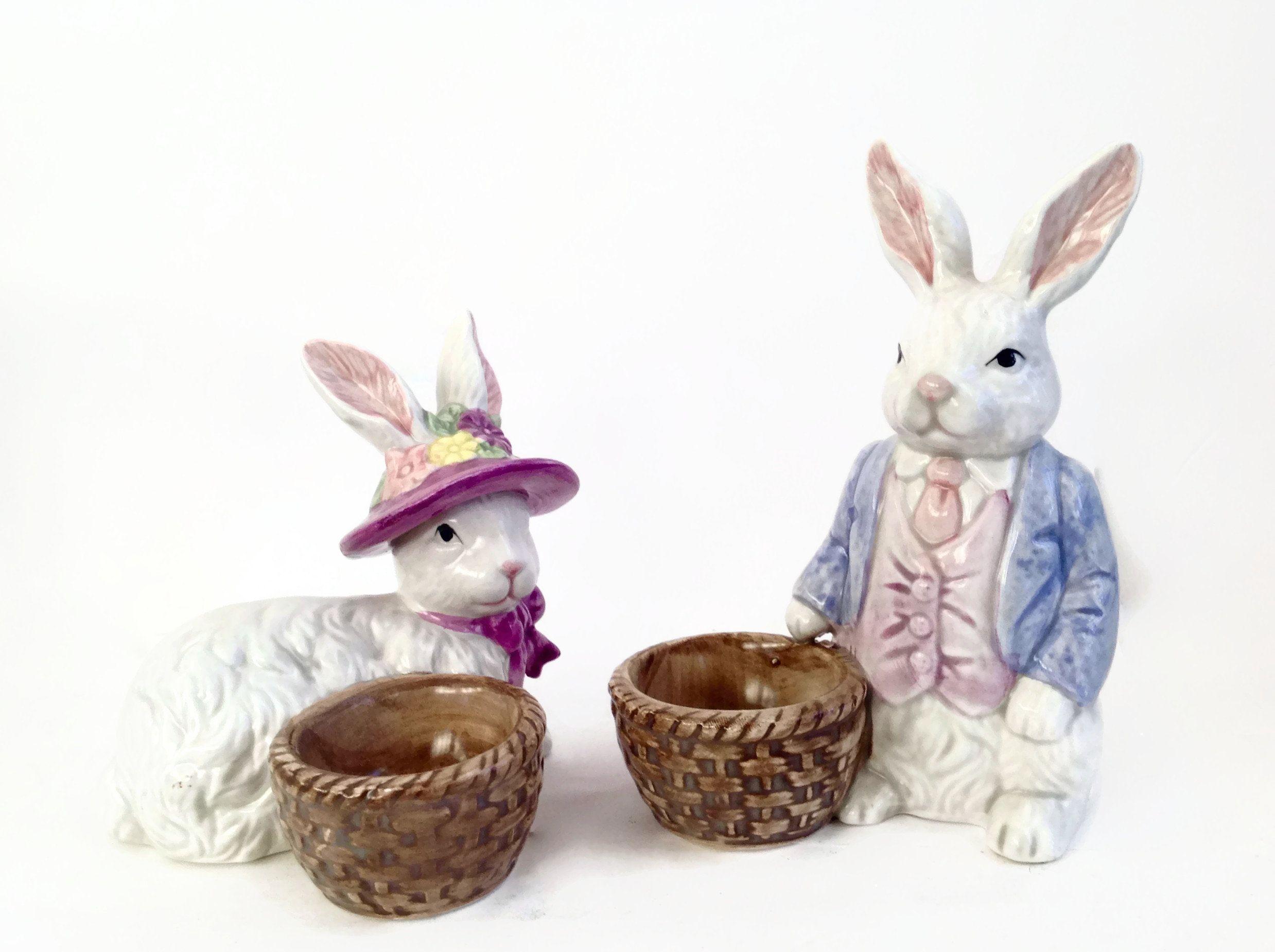 Vintage Easter Bunny Egg Holders Easter Decor Mr And Mrs