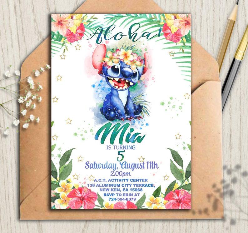 Lilo and Stitch Stitch Invitation, Lilo and Stitch Luau Party Invitations, Lilo and Stitch Birthday, Lilo and Stitch Party Invites 5x7 4x6 #liloandstitch