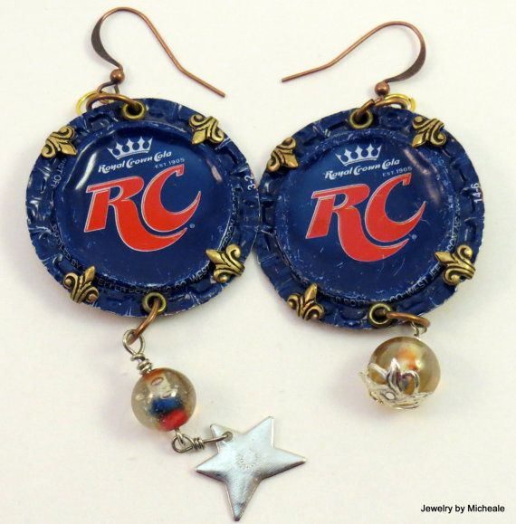 RC Cola repurposed bottle cap earrings with by JewelrybyMicheale  $24.00