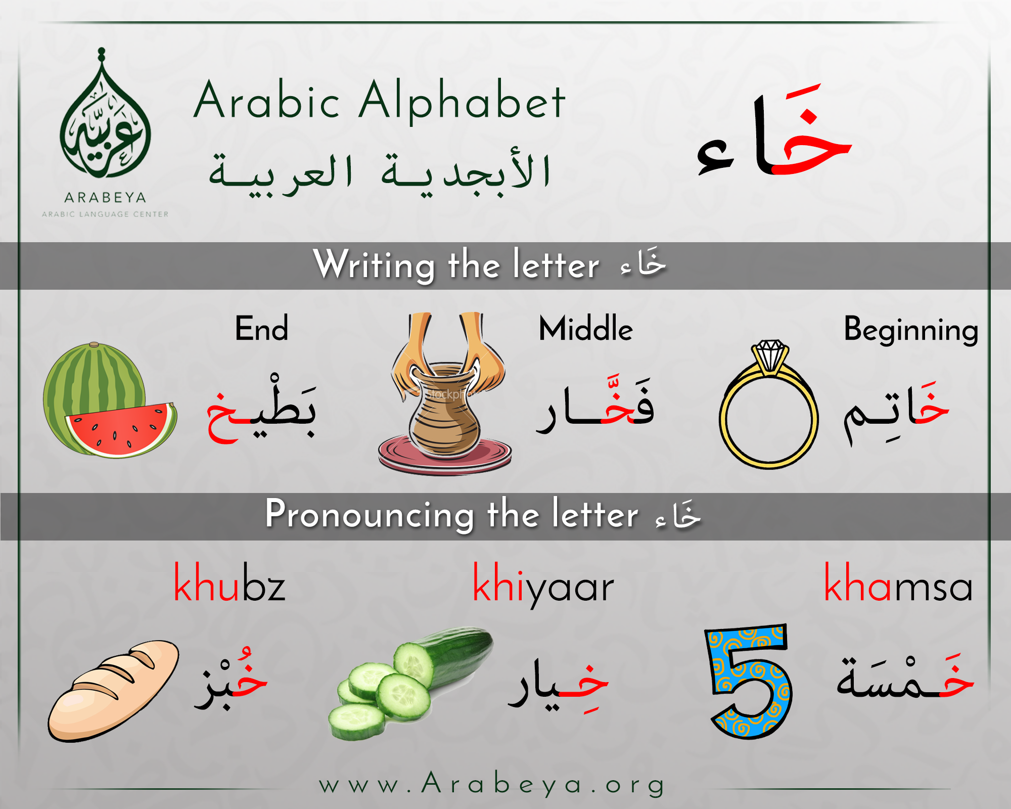 The Letter Khaa  Learn Arabic    Learning
