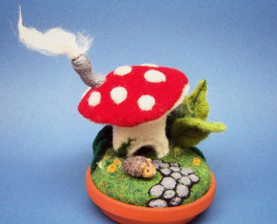 Home for Hedgehog - Needle Felted Mushroom House - Wool Pet Hedgie and Toadstool.