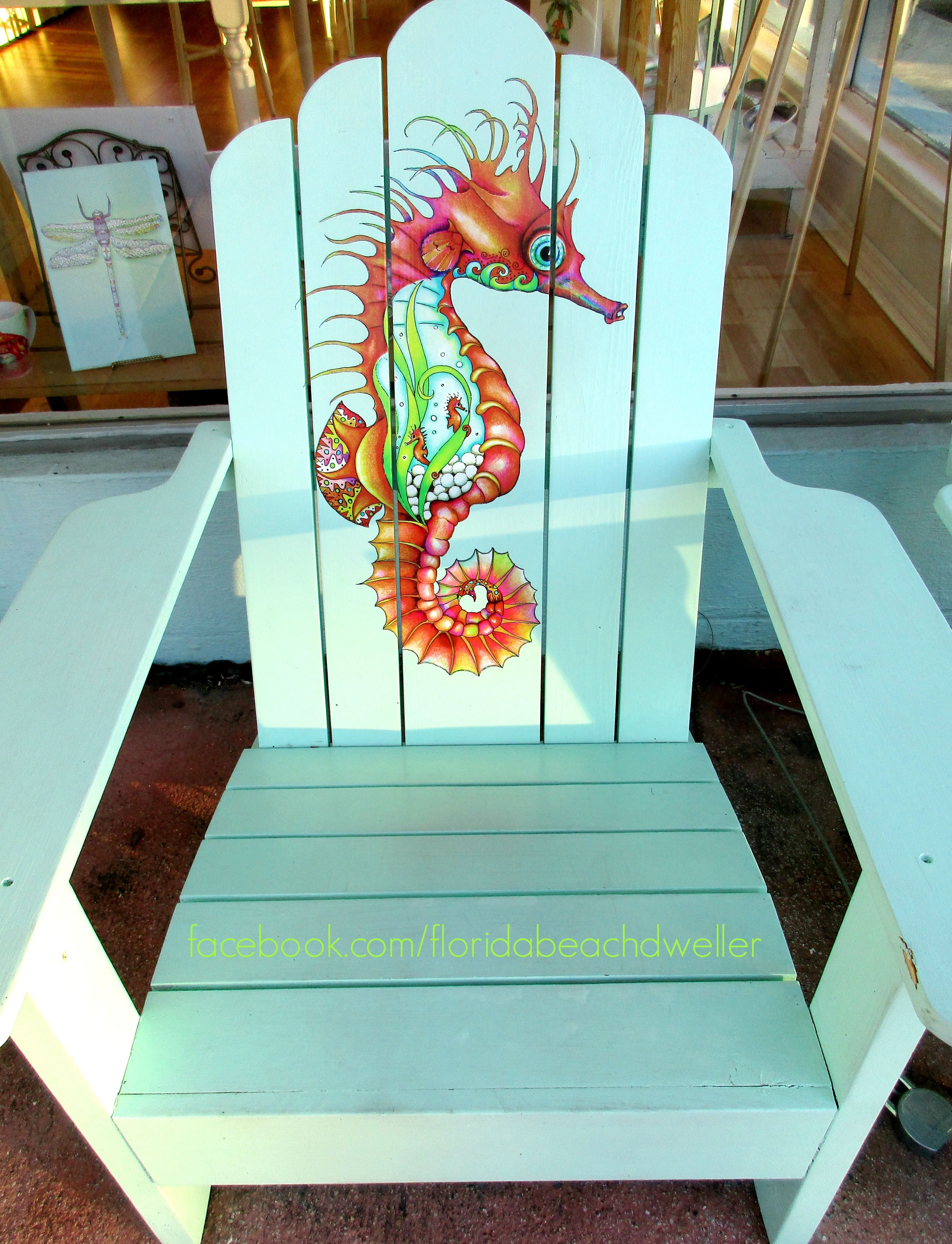 Adirondack Art Chair With Seahorse Painting By Nora Butler At Her Gallery Store In Naples