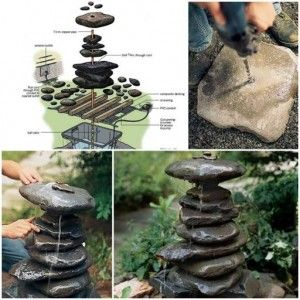 How to build a DIY garden fountain step by step tutorial instructions | Diy interesting
