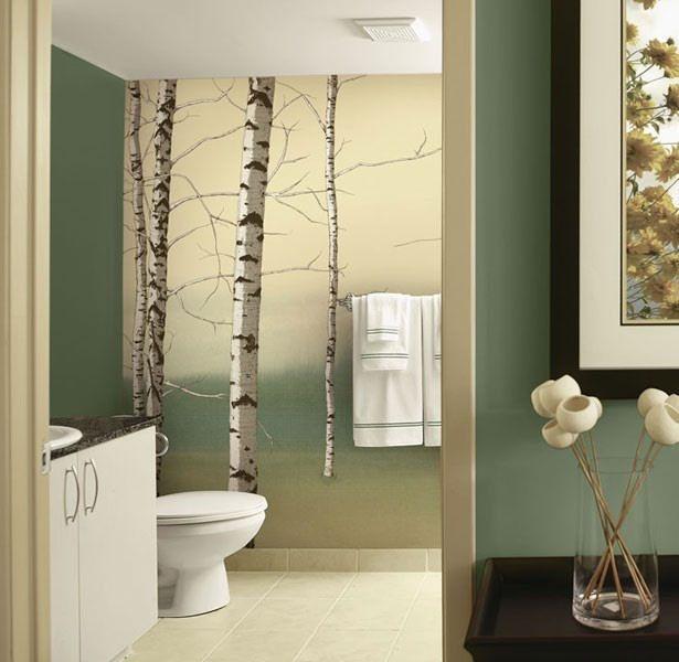 Birch Tree Tella Mural Green - Wall Sticker Outlet | Deco: Badkamer ...