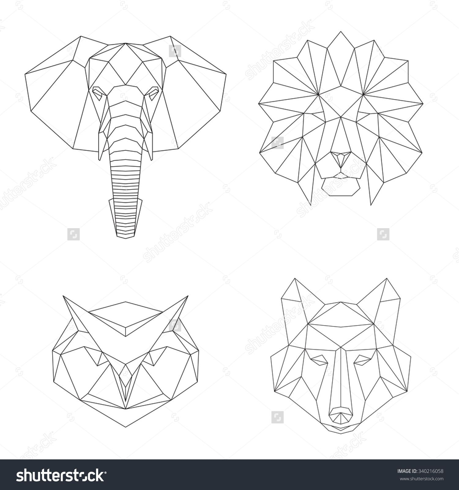 Lion Elephant Wolf And Owl Animal Heads