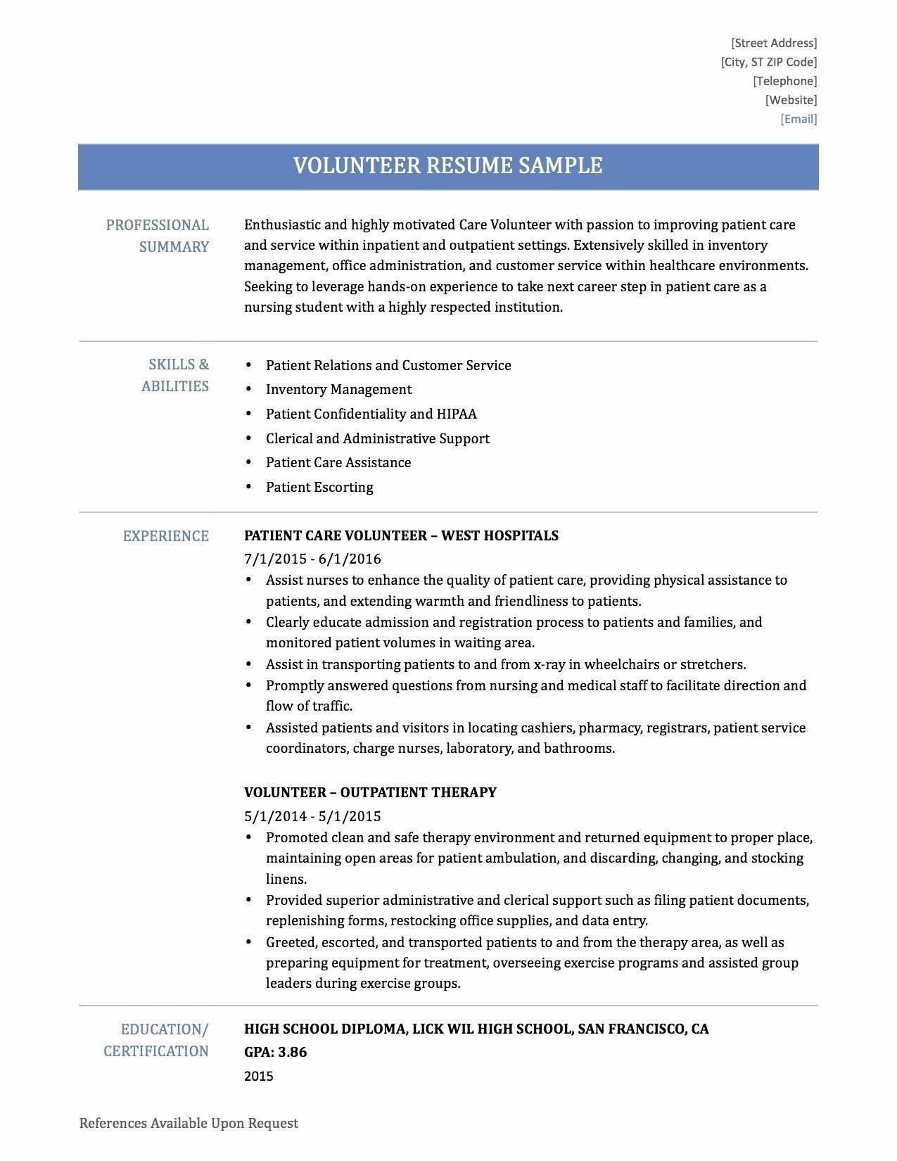 Volunteer Resume Examples Resume Job Cover Letter