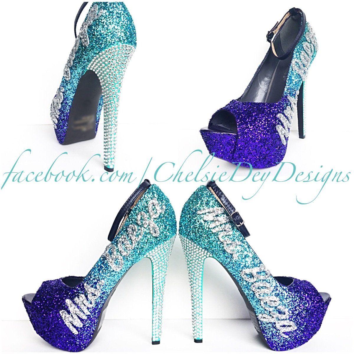 Glitter Wedding High Heels, Purple Ombre Peep Toe Platform Pumps ...