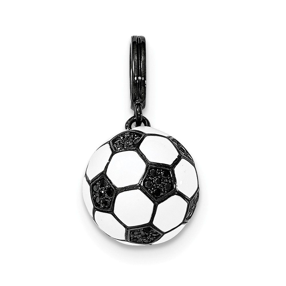 Sterling Silver Black and White Enameled Soccer Ball Charm on an Adjustable Chain Necklace