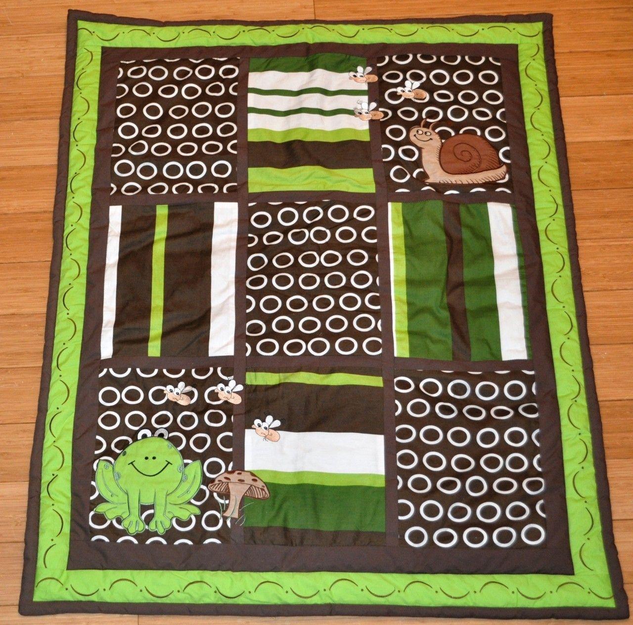 full 10 piece cute green frog design baby crib bedding by dk leigh nursery designs. Black Bedroom Furniture Sets. Home Design Ideas