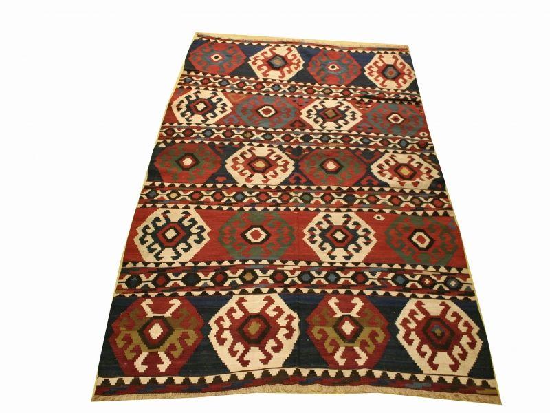 "Antique Russian Kazak kilim Rug 6'8""x10'8"""