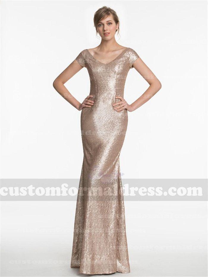 a4cb42688d2 Long Gold Cap Sleeve Sequine Bridesmaid Dresses Evening Gowns BRCT05 ...