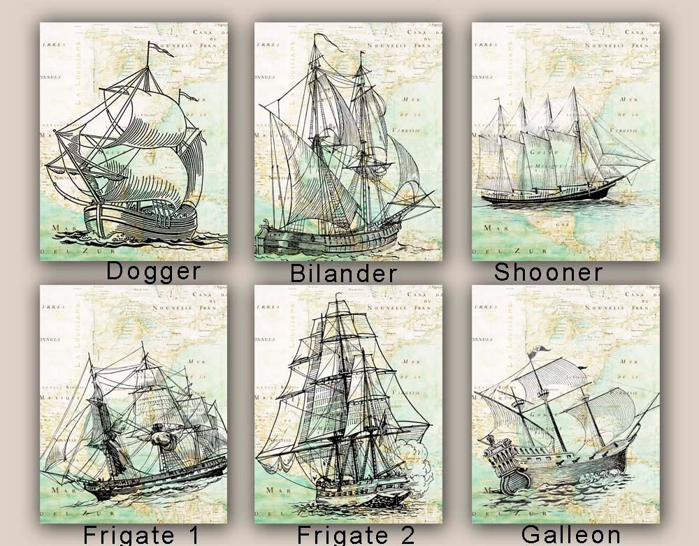 Vintage Sailing Dictionary Print Picture Art Nautical Seaside Beach Sail Boat