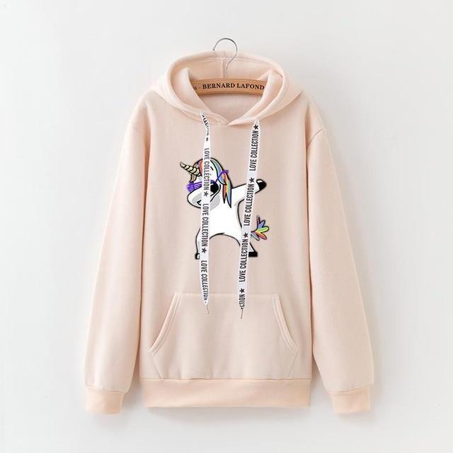2019 winter new Harajuku women hoodies Pop print Unicorn casual loose sweatshirt women's coat jumper hooded warm plus velvet top 2