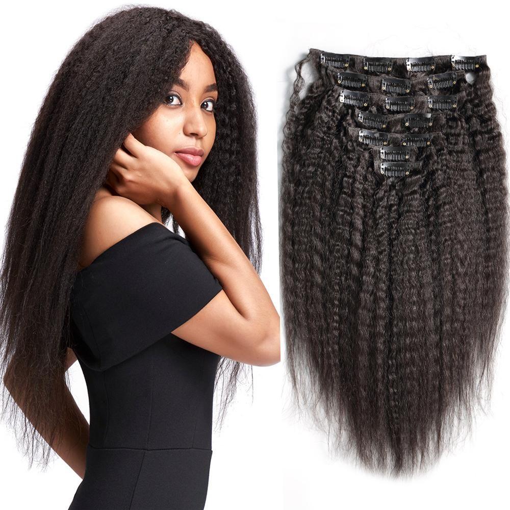 100 Human Hair Yaki Hair Kinky Straight Clip In Human Hair