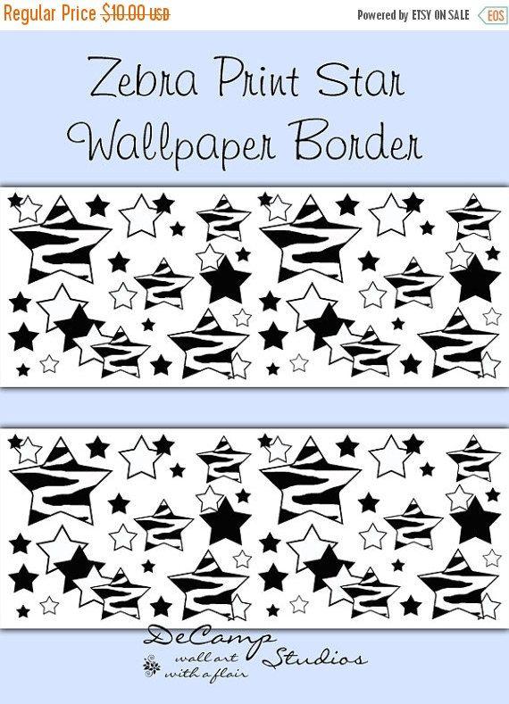 Zebra Stars Wallpaper Border Wall Decals For Teen Girls Boys Safari Animal Print  Bedroom Decor.