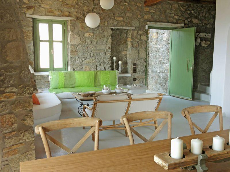 villa Irida living room | Mykonos villas, Villa, Dining chairs