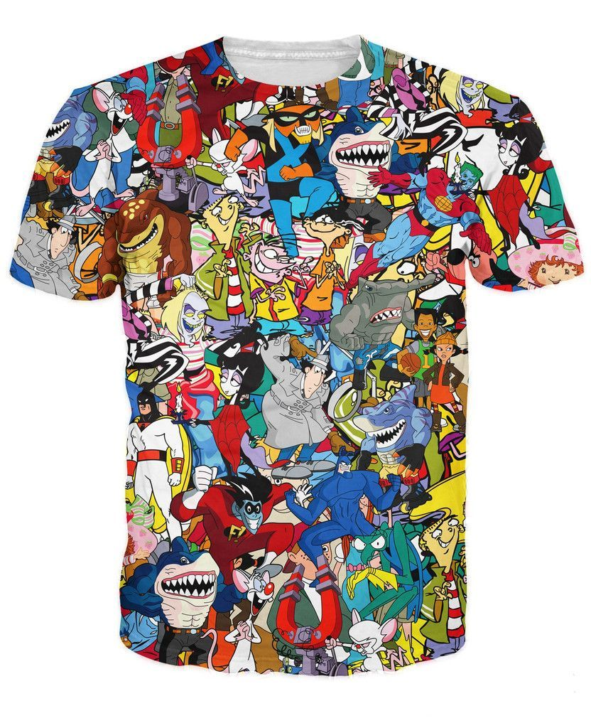 f92400de9d1 Extreme 90s Collage T-Shirt Pinky the Brain Space Ghost Character Cartoon t  shirt