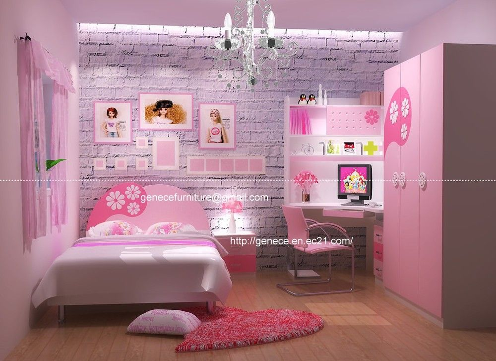 girls pink bedroom set twin or queen bed childrens furniture-in ...