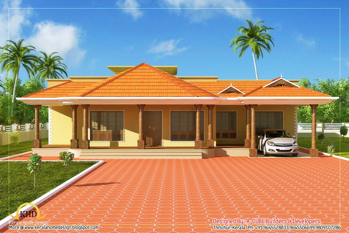Kerala style single floor house 2500 sq ft kerala for Small house plans in kerala