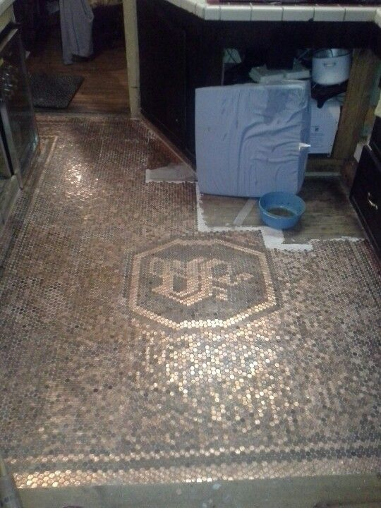 Copper Penny Mosaic Tiled Floor Penny Decor Modern