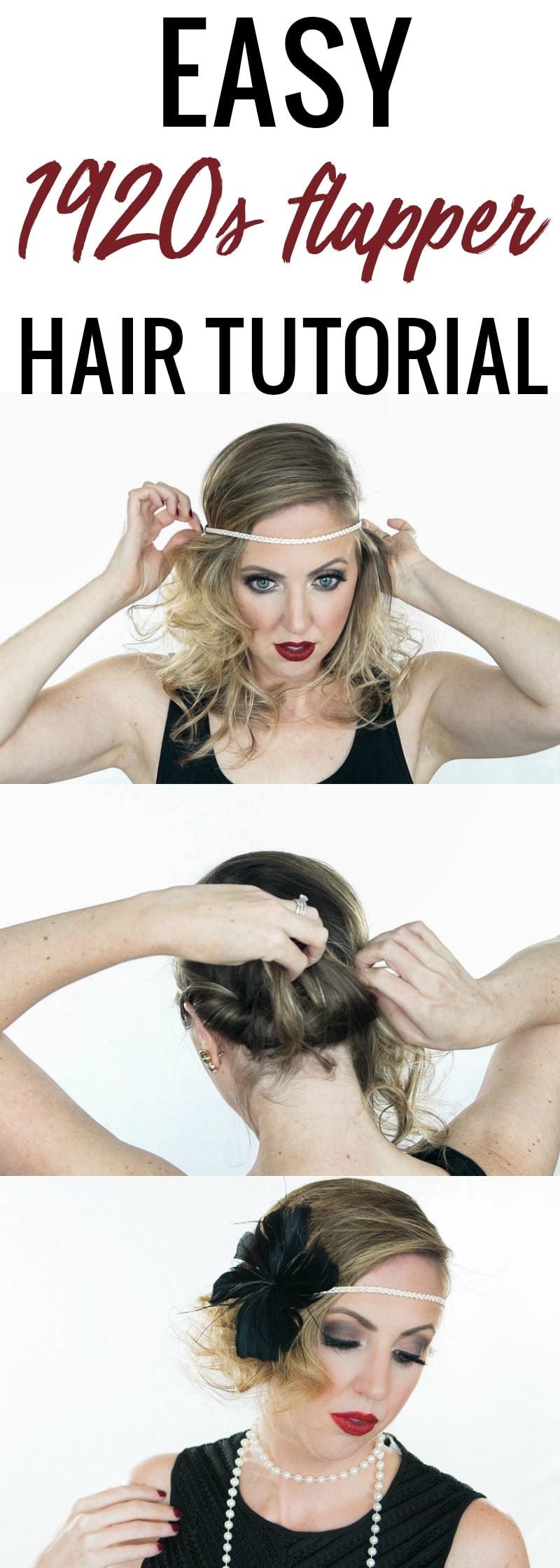 Easy Halloween Hair Tutorial - 1920s Flapper