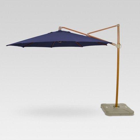 11 Round Offset Patio Umbrella With Base Medium Faux Wood Pole Threshold Target