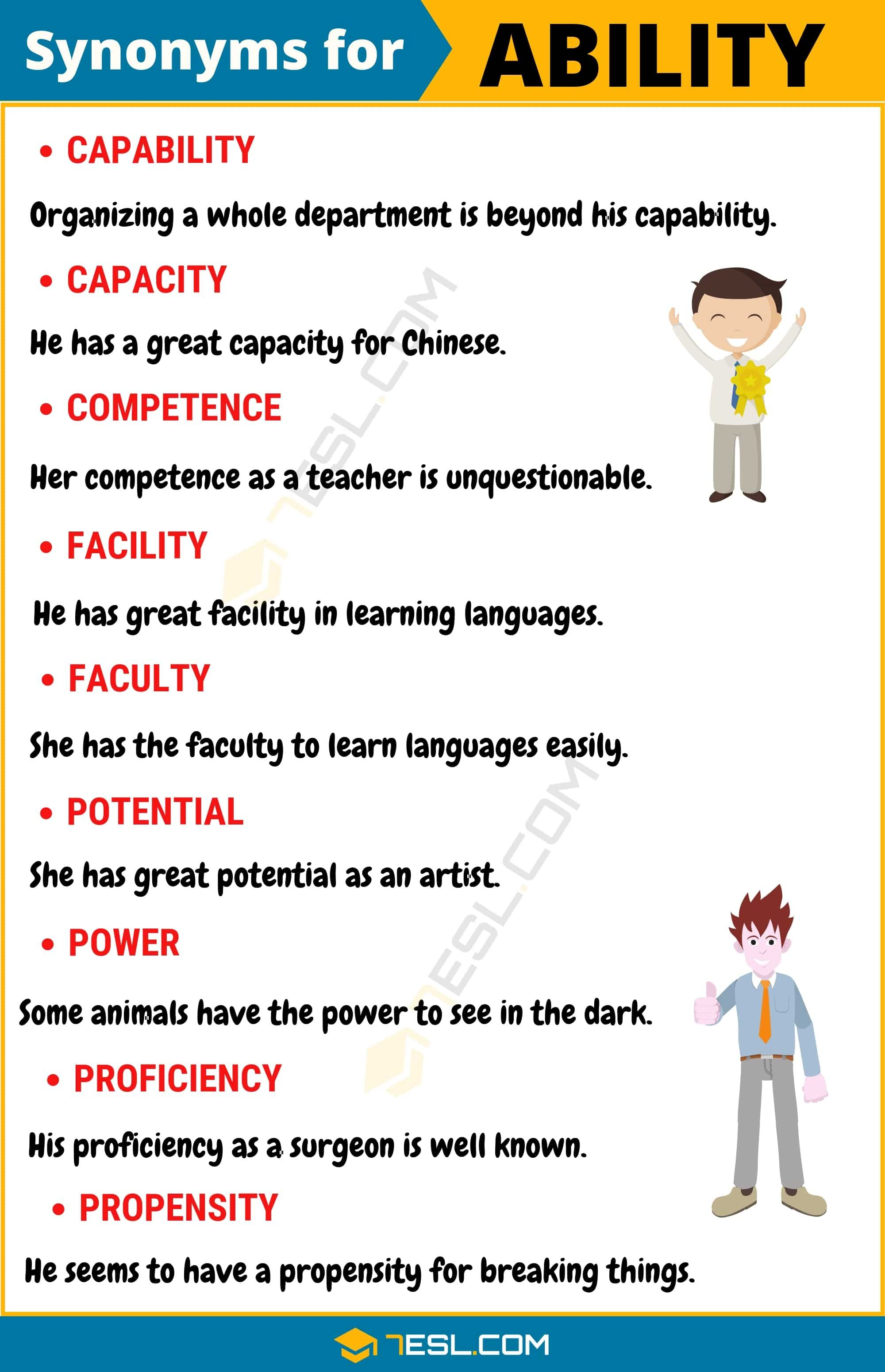 Ability Synonym List Of 100 Synonyms For Ability With Useful Examples 7esl English Idioms English Vocabulary English Lessons
