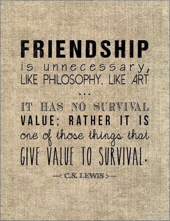cs lewis friendship quote typography print birthday gift for best f
