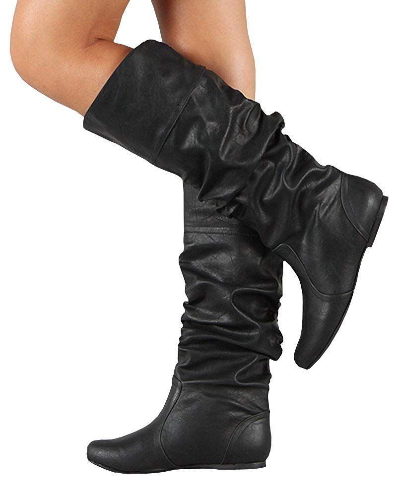 30d7a493f0be Womens Slouchy Flat Knee High Boot Wide Calf Round Toe Boots    Wonderful  of your presence to have dropped by to see the photo. (This is our  affiliate link) ...