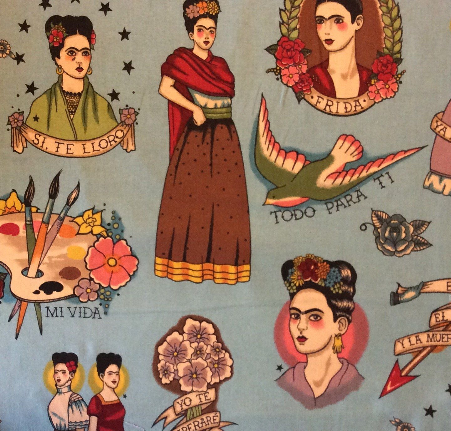 ed0777fd8 Frida Kahlo Mexico Art Viva Love Tattoo Painting Quilting Cotton Fabric  AH168