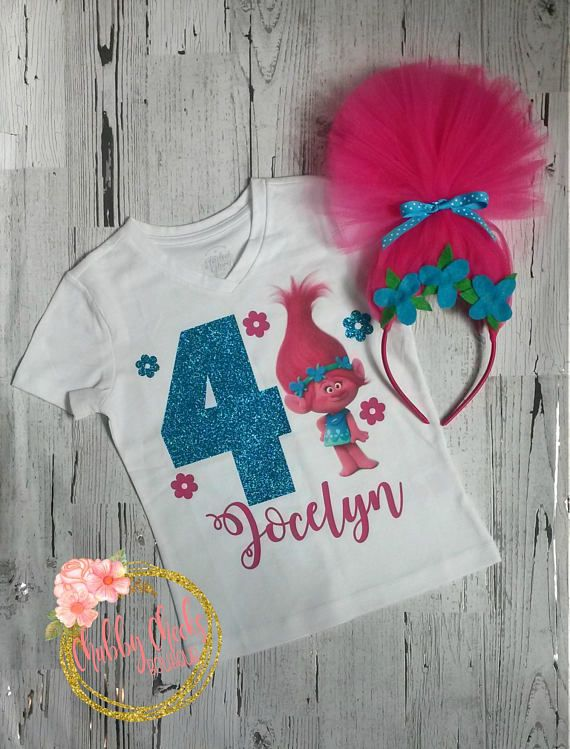 5th Birthday Girl Tutu Shirt Outfit Princess Poppy Trolls Rainbow Pink Cute sq