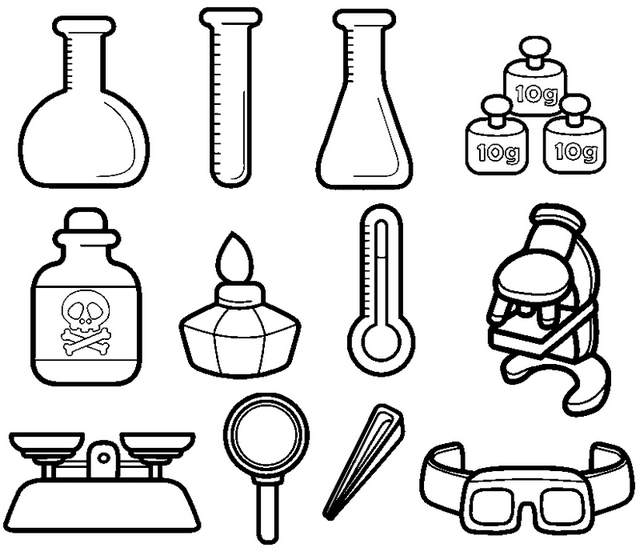 This Coloring Sheet Contains Printable Drawings Various Chemistry Lovers Including Cartoon A Scientist Science Lab Decorations Science Tools Science Equipment