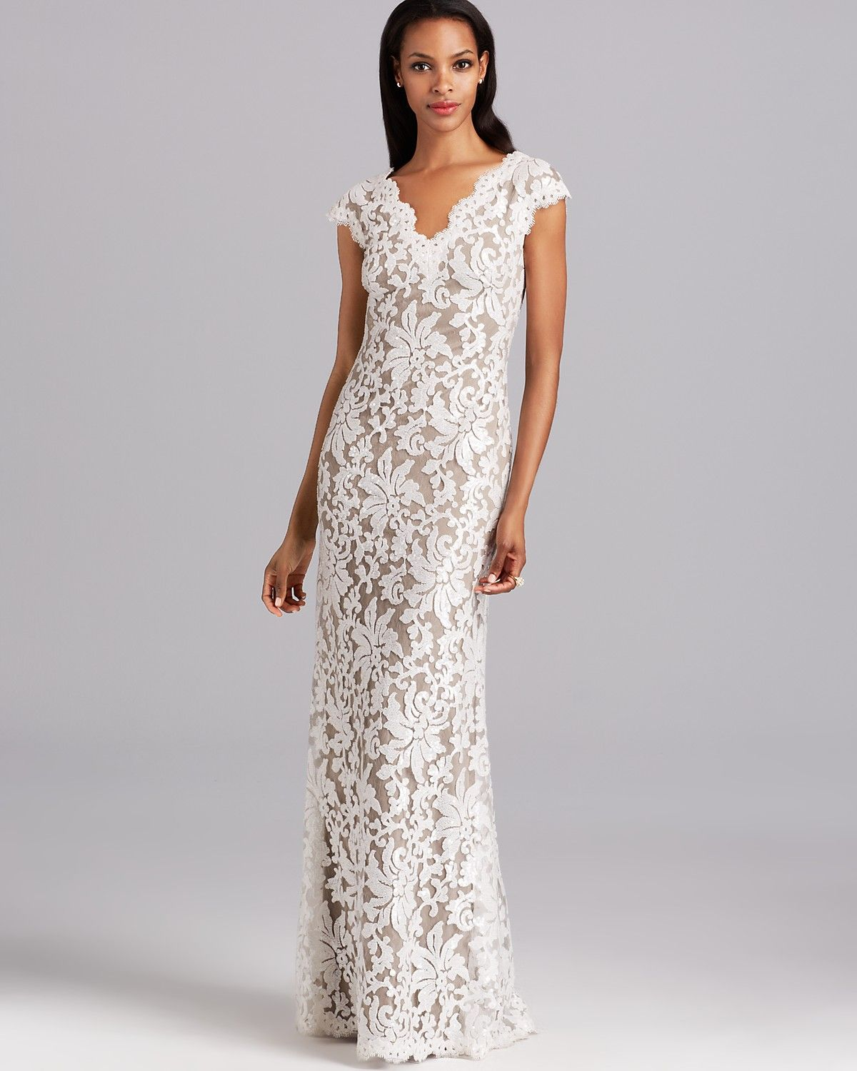 Tadashi Shoji Gown V Neck Cap Sleeve Two Tone Women Bloomingdale S Wedding Dresses Under 500 Tadashi Shoji Wedding Dress Gowns Dresses