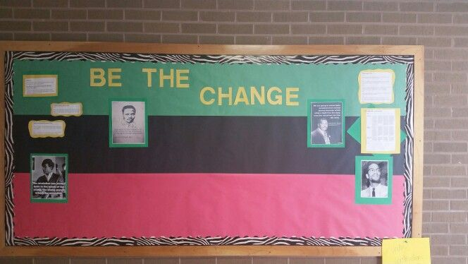 Black History bulletin board.  6th grade group research papers on iconic black revolutionaries