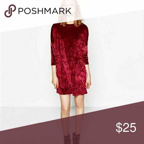 16b9813c Zara Burgundy Red Crushed Velvet Dress Crushed velvet sack dress with 3/4  dropped shoulder