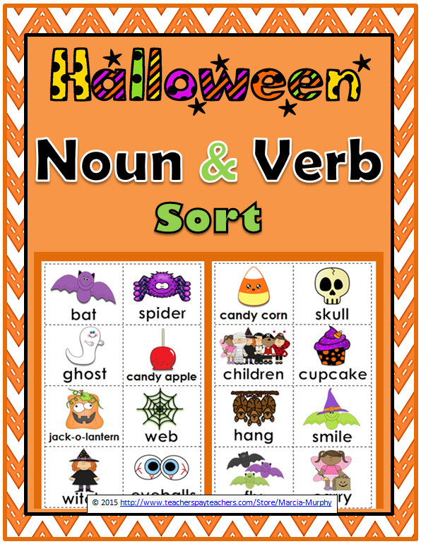 Nouns And Verbs Sort Halloween Theme Nouns And Verbs Nouns Activities Nouns And Pronouns