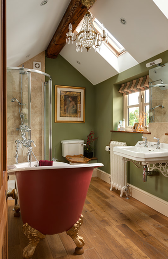 Green Ivy Cottage Loving That Red Clawfoot Tub And Walls