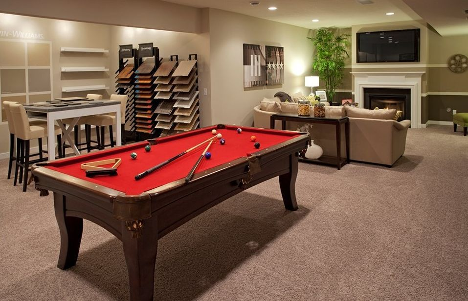 Delightful Transitional Basement With Carpet, Metal Fireplace, Tiburon Pool Table