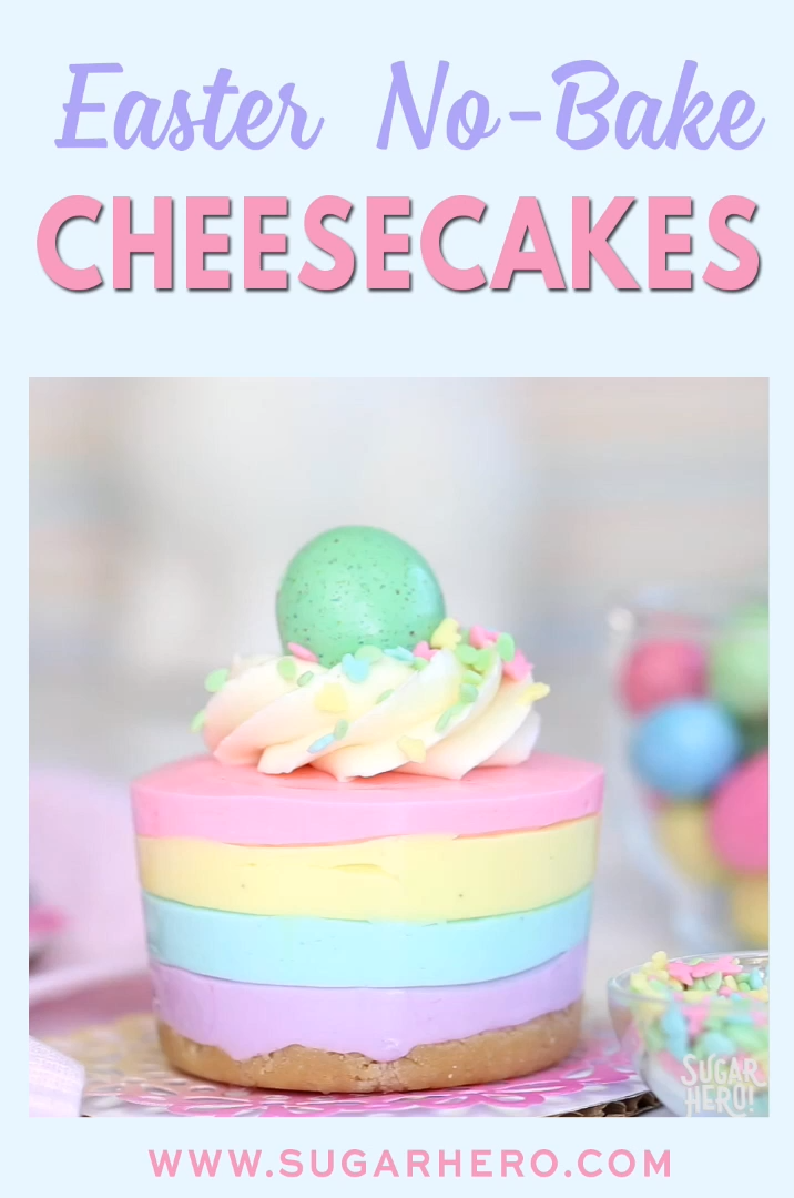 Easter NoBake Mini Cheesecakes is part of Dessert recipes - Easter NoBake Mini Cheesecakes are cute, pastelstriped cheesecakes  They're an easy Easter dessert with no baking required!