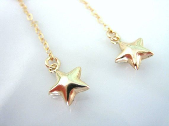 Gold star dangle earrings by KBlossoms on Etsy, $33.00