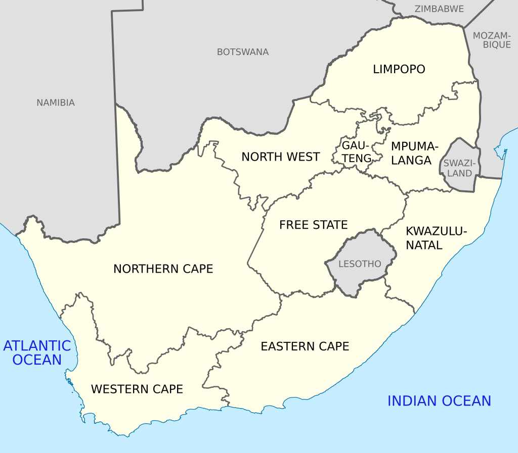 Map Of South Africa With English Labels