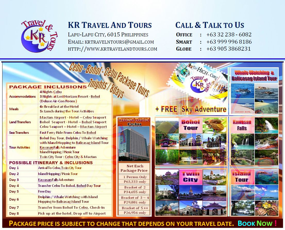 7 Nights And 8 Days Travel Itinerary For Cebu Bohol Package Tours Www Krtravelandtours Com Kr Travel Tours Is A Travel Itinerary Tour Packages Travel Fun Example of itinerary for tour