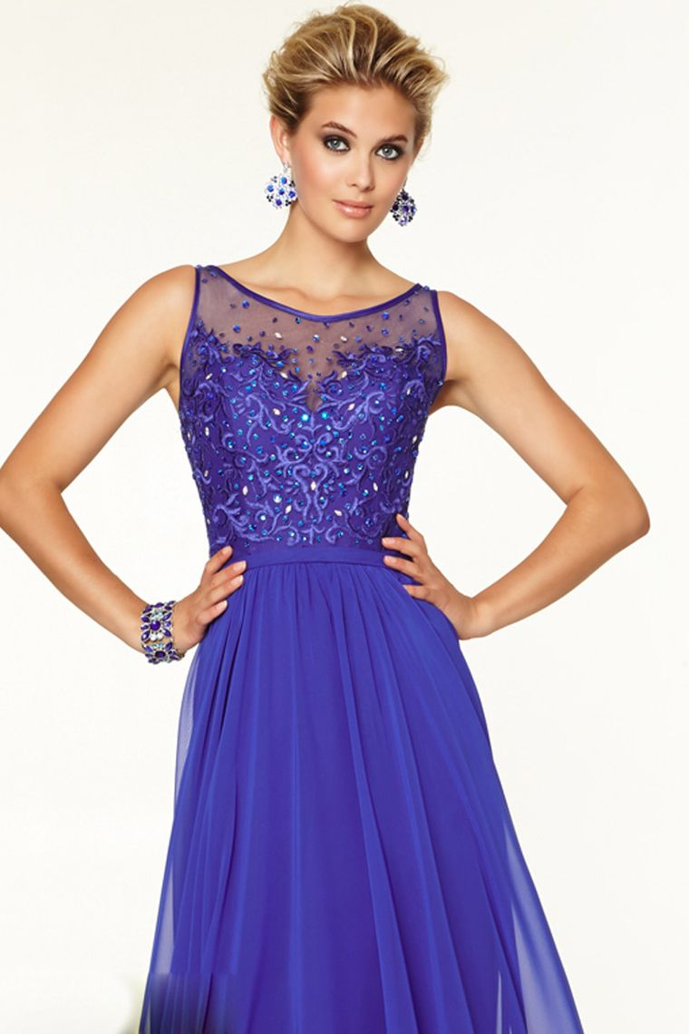 2015 Prom Dress Bateau A Line Floor Length With Embroidery ...