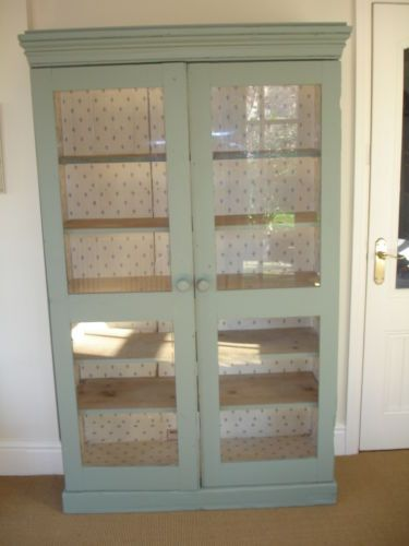 Old Antique Glass Fronted Cabinet. Painted And In Need Of Restoration
