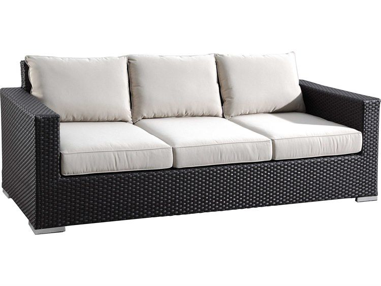 Sunset West Solana Wicker Sofa With Club Chairs Nesting Tables And