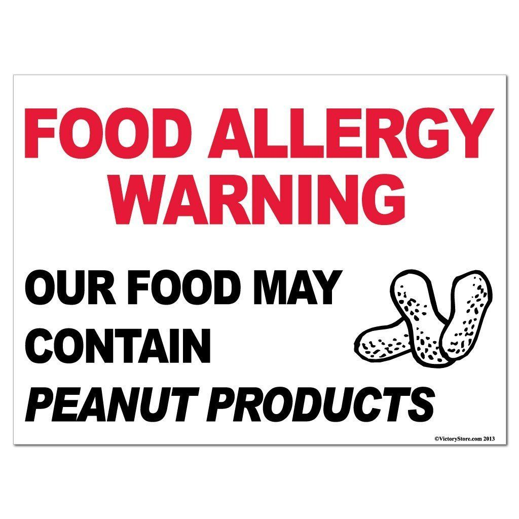 Peanut Products Food Allergy Warning Sign