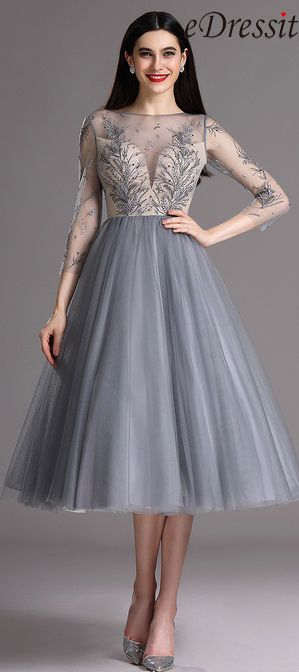 3e2c5320f8 eDressit Grey Tea Length Party Cocktail Dress with Embroidery